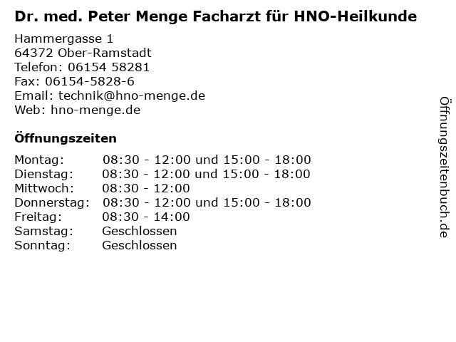 Dr. med. Peter Menge Facharzt für HNO-Heilkunde in Ober-Ramstadt: Adresse und Öffnungszeiten