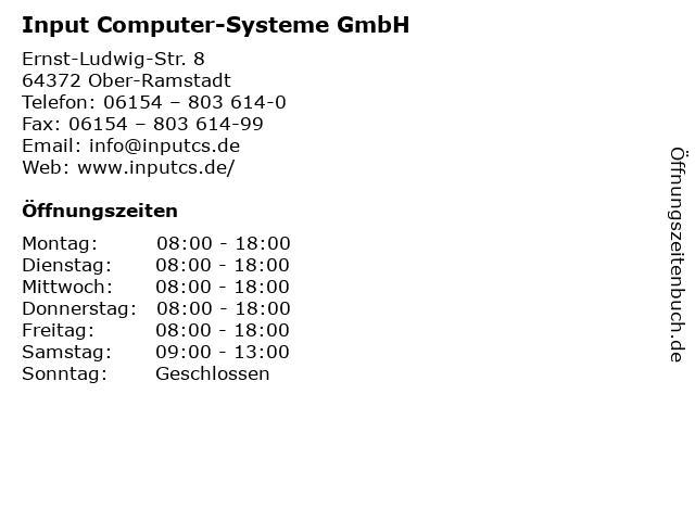 Input Computer-Systeme GmbH in Ober-Ramstadt: Adresse und Öffnungszeiten