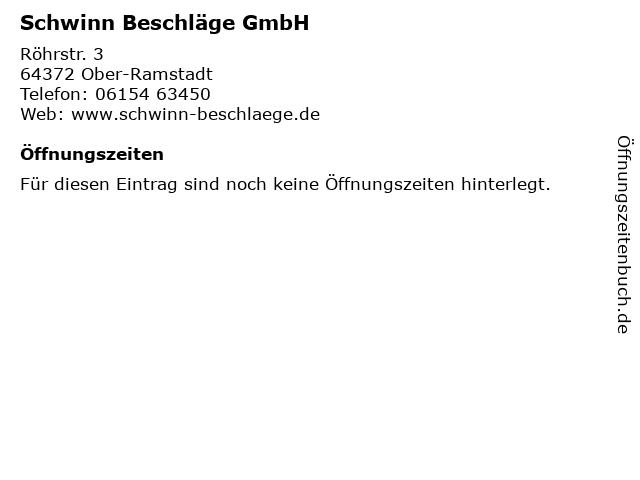 Schwinn Beschläge GmbH in Ober-Ramstadt: Adresse und Öffnungszeiten