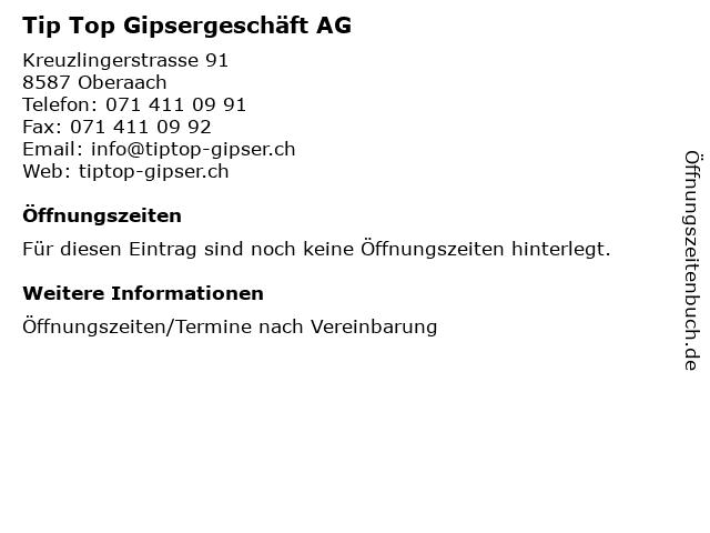 Tip Top Gipsergeschäft AG in Oberaach: Adresse und Öffnungszeiten