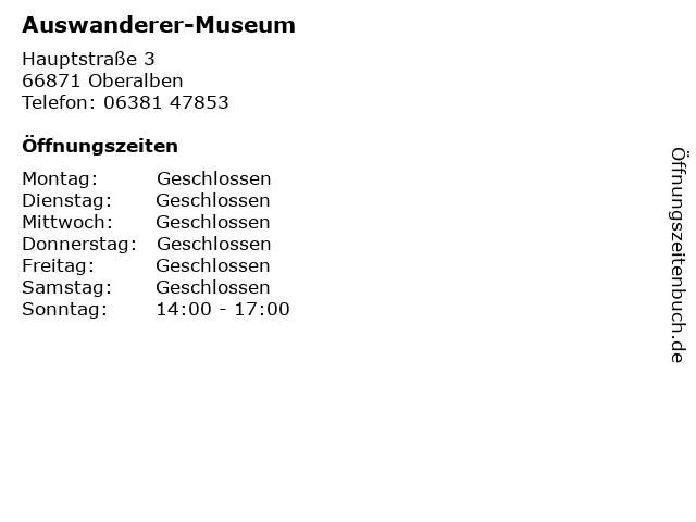 Auswanderer-Museum in Oberalben: Adresse und Öffnungszeiten
