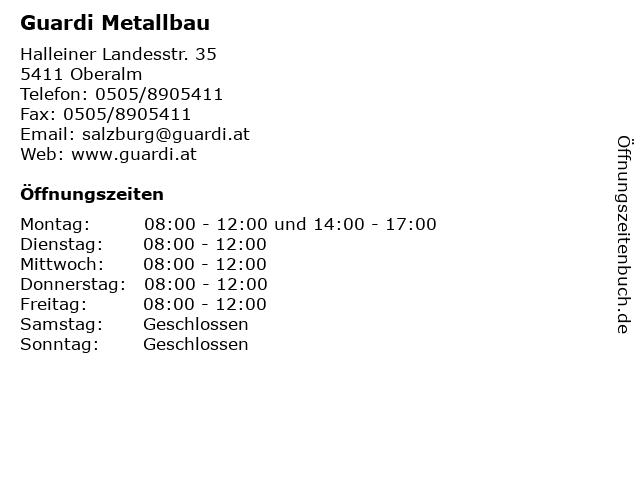 Guardi Metallbau in Oberalm: Adresse und Öffnungszeiten