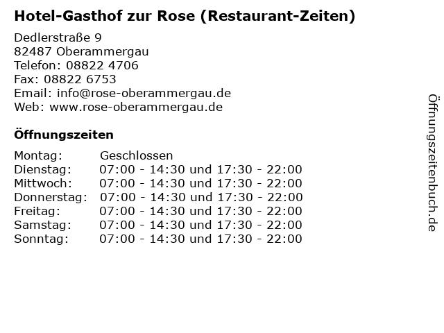Hotel-Gasthof zur Rose (Restaurant-Zeiten) in Oberammergau: Adresse und Öffnungszeiten