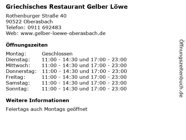 Griechisches Restaurant Gelber Löwe in Oberasbach: Adresse und Öffnungszeiten
