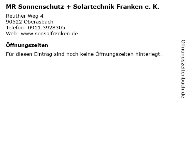 MR Sonnenschutz + Solartechnik Franken e. K. in Oberasbach: Adresse und Öffnungszeiten