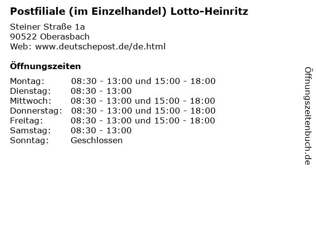 Postfiliale (im Einzelhandel) Lotto-Heinritz in Oberasbach: Adresse und Öffnungszeiten