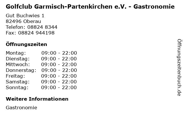 Golfclub Garmisch-Partenkirchen e.V. - Gastronomie in Oberau: Adresse und Öffnungszeiten