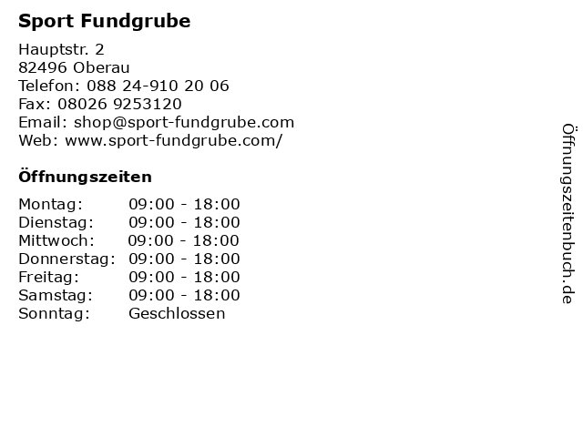 Sport Fundgrube in Oberau: Adresse und Öffnungszeiten