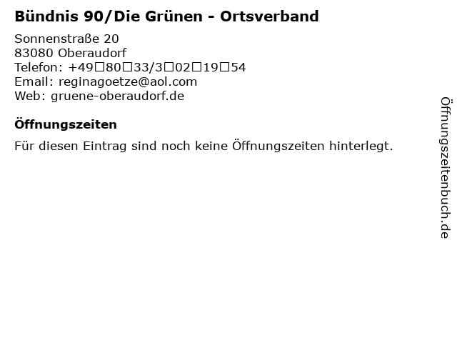 Bündnis 90/Die Grünen - Ortsverband in Oberaudorf: Adresse und Öffnungszeiten