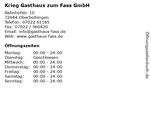Krieg Gasthaus zum Fass GmbH in Oberboihingen: Adresse und Öffnungszeiten