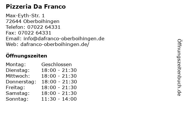 Pizzeria Da Franco in Oberboihingen: Adresse und Öffnungszeiten