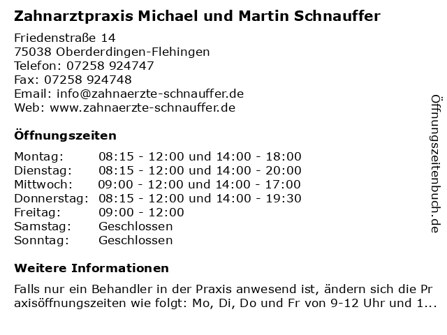 Zahnarztpraxis Michael und Martin Schnauffer in Oberderdingen-Flehingen: Adresse und Öffnungszeiten