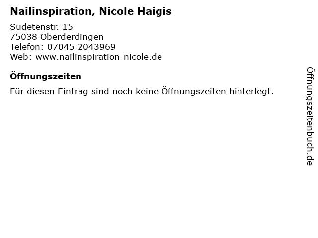 Nailinspiration, Nicole Haigis in Oberderdingen: Adresse und Öffnungszeiten