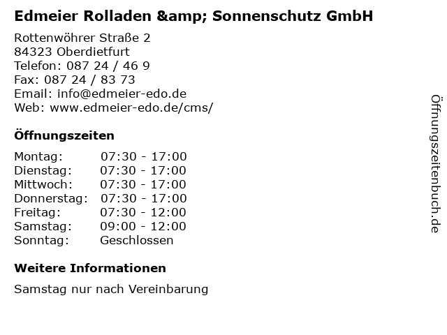 Edmeier Rolladen & Sonnenschutz GmbH in Oberdietfurt: Adresse und Öffnungszeiten
