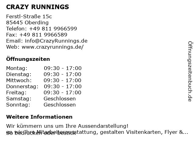 CRAZY RUNNINGS in Oberding: Adresse und Öffnungszeiten