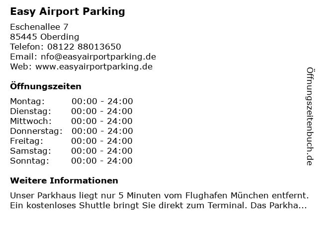 Easy Airport Parking in Oberding: Adresse und Öffnungszeiten