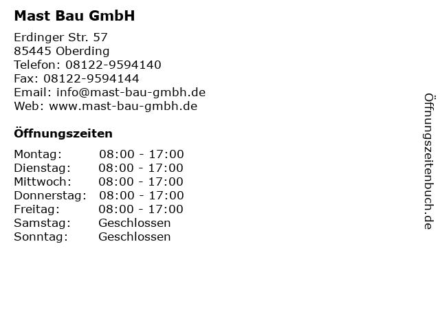 Mast Bau GmbH in Oberding: Adresse und Öffnungszeiten