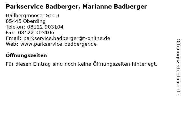 Parkservice Badberger, Marianne Badberger in Oberding: Adresse und Öffnungszeiten