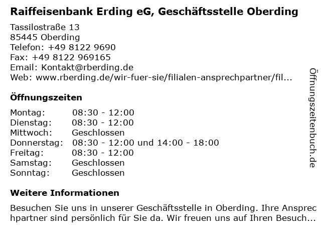 Raiffeisenbank Erding eG, Geschäftsstelle Oberding in Oberding: Adresse und Öffnungszeiten