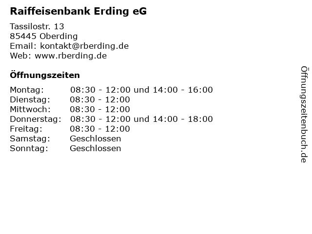 Raiffeisenbank Erding eG in Oberding: Adresse und Öffnungszeiten