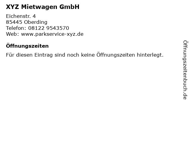 XYZ Mietwagen GmbH in Oberding: Adresse und Öffnungszeiten