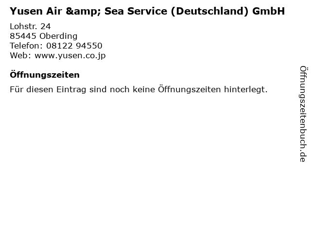 Yusen Air & Sea Service (Deutschland) GmbH in Oberding: Adresse und Öffnungszeiten