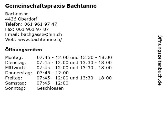 Gemeinschaftspraxis Bachtanne in Oberdorf: Adresse und Öffnungszeiten