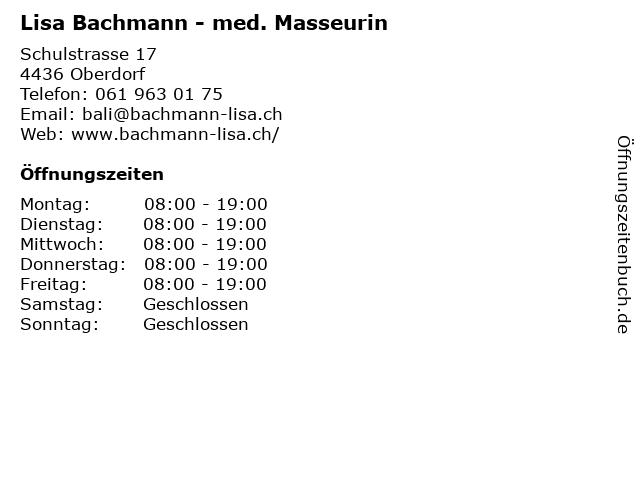 Lisa Bachmann - med. Masseurin in Oberdorf: Adresse und Öffnungszeiten