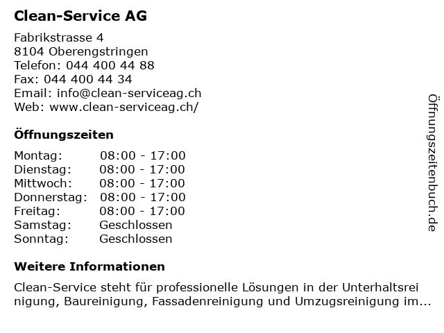 Clean-Service AG in Oberengstringen: Adresse und Öffnungszeiten