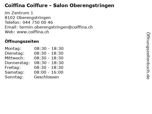 Coiffina Coiffure - Salon Oberengstringen in Oberengstringen: Adresse und Öffnungszeiten