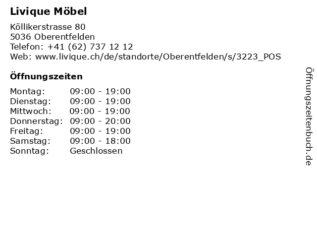 ᐅ öffnungszeiten Livique Möbel Köllikerstrasse 80 In Oberentfelden