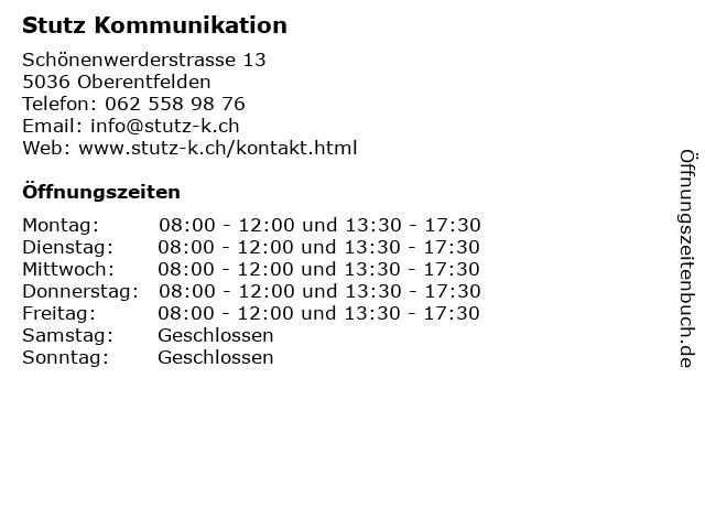 Stutz Kommunikation in Oberentfelden: Adresse und Öffnungszeiten