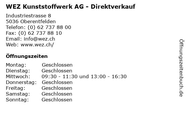WEZ Kunststoffwerk AG - Direktverkauf in Oberentfelden: Adresse und Öffnungszeiten