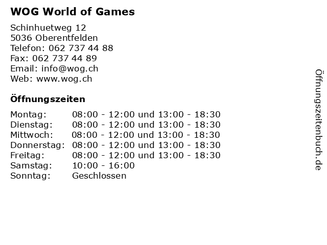 WOG World of Games in Oberentfelden: Adresse und Öffnungszeiten