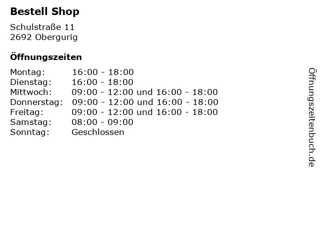 Bestell Shop in Obergurig: Adresse und Öffnungszeiten