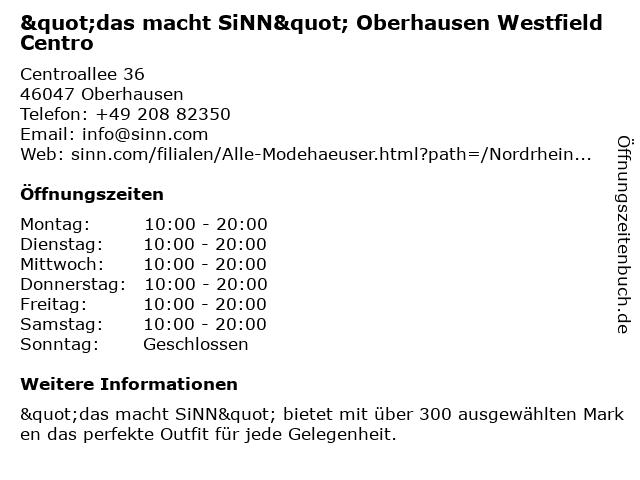 SinnLeffers GmbH in Oberhausen: Adresse und Öffnungszeiten