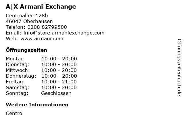 A|X Armani Exchange in Oberhausen: Adresse und Öffnungszeiten
