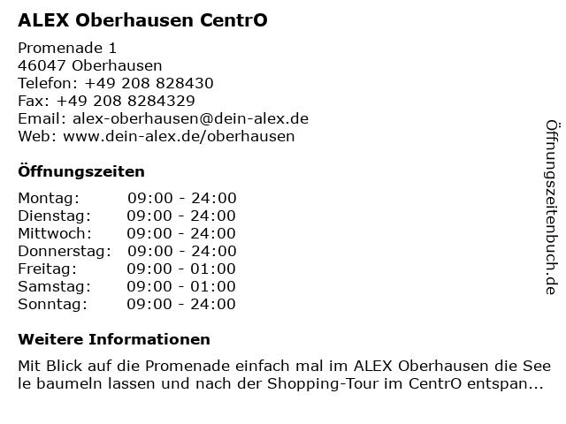 ALEX Oberhausen CentrO in Oberhausen: Adresse und Öffnungszeiten
