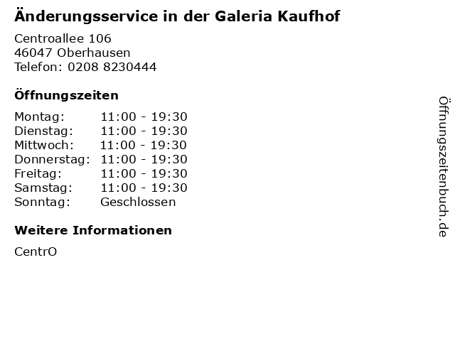 Änderungsservice in der Galeria Kaufhof in Oberhausen: Adresse und Öffnungszeiten