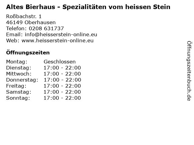 Altes Bierhaus - Spezialitäten vom heissen Stein in Oberhausen: Adresse und Öffnungszeiten