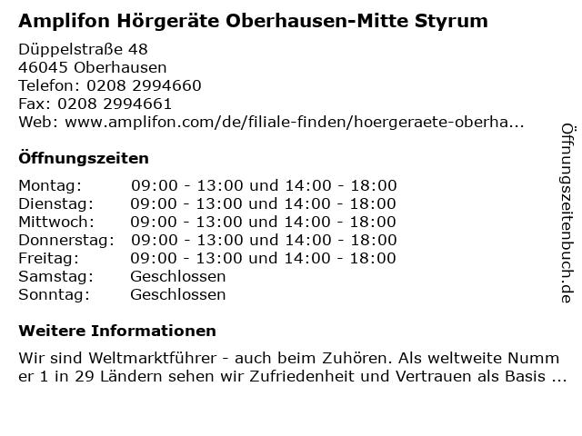 Amplifon Deutschland GmbH in Oberhausen: Adresse und Öffnungszeiten