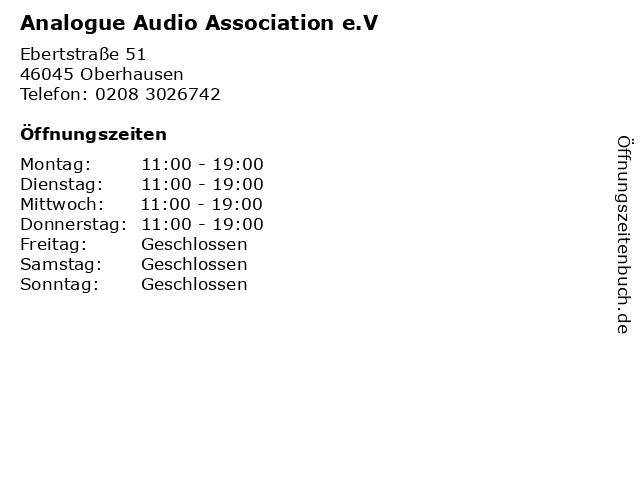 Analogue Audio Association e.V in Oberhausen: Adresse und Öffnungszeiten