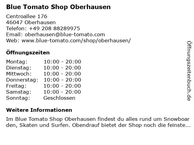 Blue Tomato Shop Oberhausen in Oberhausen: Adresse und Öffnungszeiten