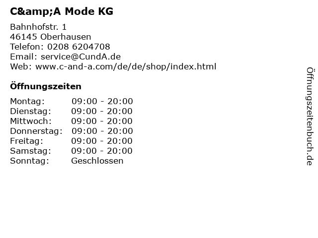 C&A Mode KG in Oberhausen: Adresse und Öffnungszeiten
