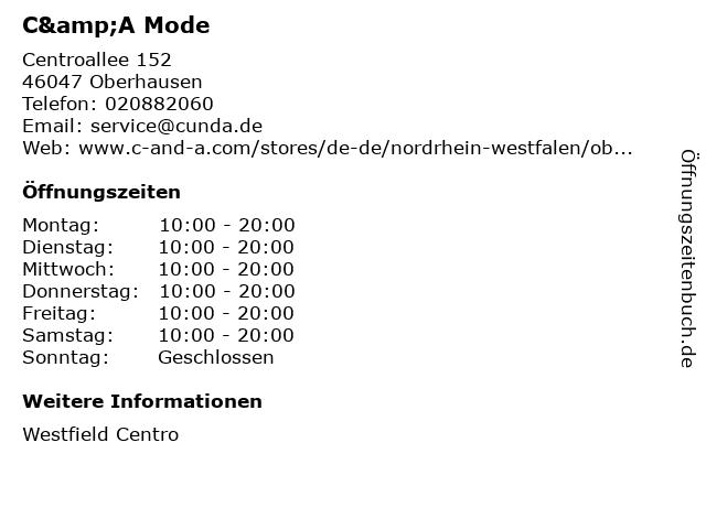 C&A Mode GmbH & Co. KG in Oberhausen: Adresse und Öffnungszeiten