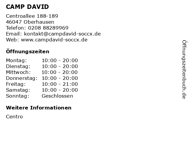 CAMP DAVID in Oberhausen: Adresse und Öffnungszeiten