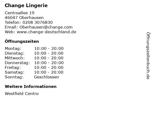 CHANGE Lingerie in Oberhausen: Adresse und Öffnungszeiten