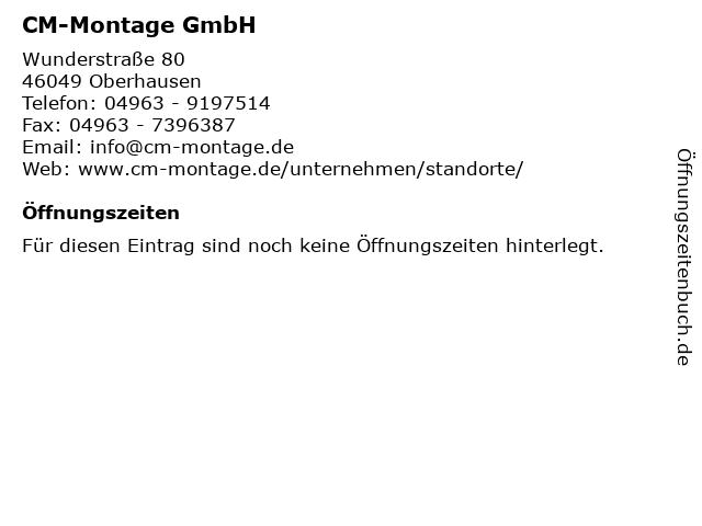 CM-Montage GmbH in Oberhausen: Adresse und Öffnungszeiten