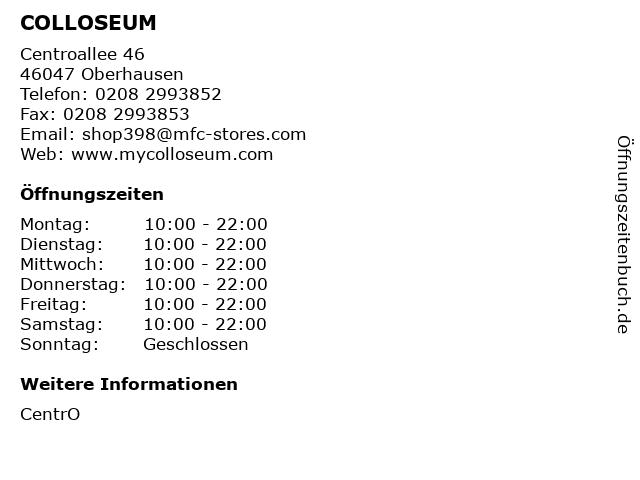 COLLOSEUM in Oberhausen: Adresse und Öffnungszeiten