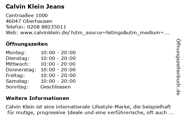 Calvin Klein Jeans in Oberhausen: Adresse und Öffnungszeiten